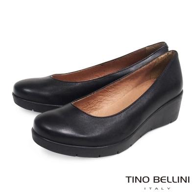 Tino-Bellini-西班牙知性舒適全真皮厚底坡跟包鞋-黑