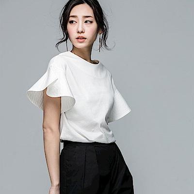 SUITANGTANG 細縫紋荷葉袖上衣-共2色-白色