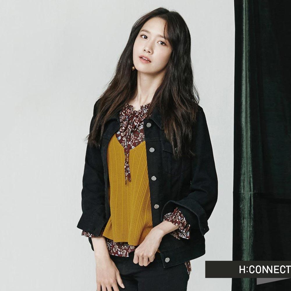 H:CONNECT韓國品牌女裝羅紋V領針織背心黃
