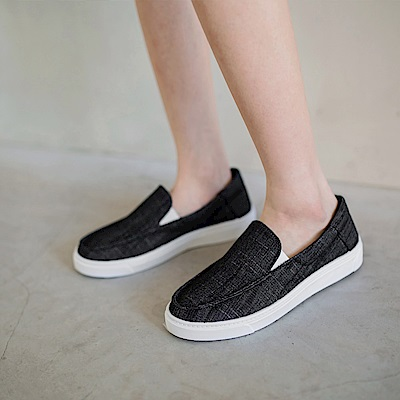 質感紋理帆布休閒懶人鞋-OB大尺碼