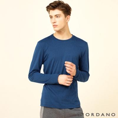GIORDANO 男裝簡約素色基本款磨毛圓領長袖T恤 - 15 雪花暗達芙妮藍