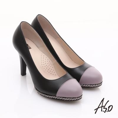 A.S.O 優雅時尚 珠光真皮雙色鍊帶高跟鞋 黑