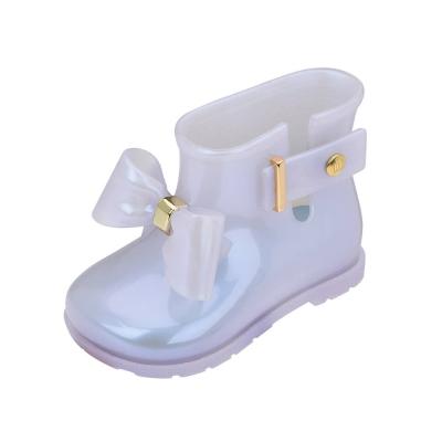 MINI MELISSA甜心蝴蝶結小童雨靴-透明白