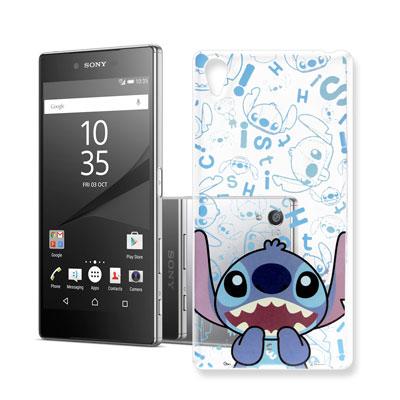 迪士尼 索尼 Xperia Z5 Premium 大頭背景透明手機軟殼(摀嘴史迪...