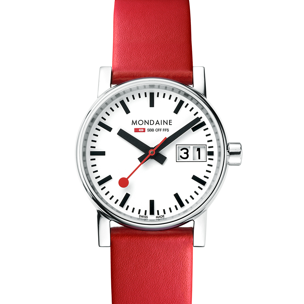 MONDAINE 瑞士國鐵 evo2 時光走廊腕錶-白x紅色錶帶/30mm