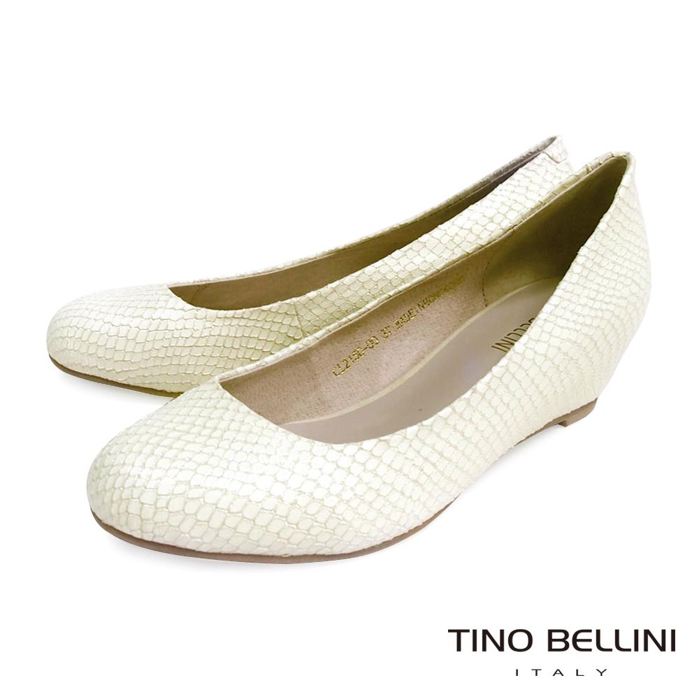 Tino Bellini 經典簡約真皮內增高包鞋_蛇紋白