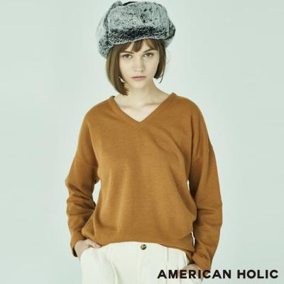 AMERICAN HOLIC  V領落肩長袖針織上衣