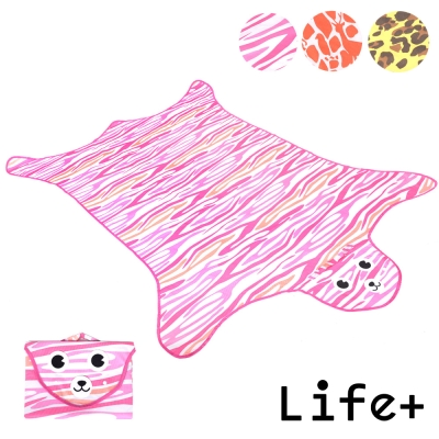 Life Plus 動物叢林 造型野餐墊/遊戲墊_加大款 (粉色_虎紋)