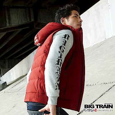 BIG TRAIN 加大黑白像版潮流厚T-男-淺麻灰