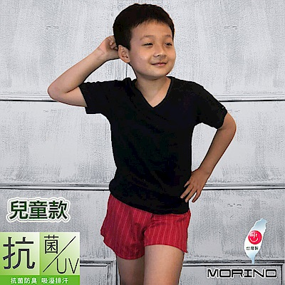 兒童抗菌防臭短袖V領衫/T恤 黑 MORINO