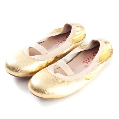 G.Ms.童鞋-金屬羊皮鬆緊口可攜式娃娃鞋(附鞋袋)-淺金