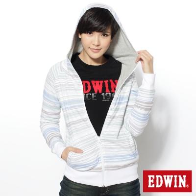 EDWIN雙面穿點點簡約連帽拉T-女款-米白
