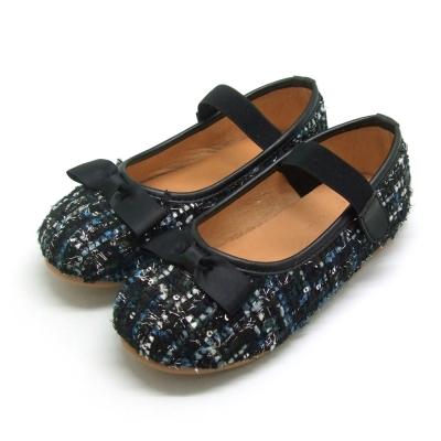 天使童鞋-D378 氣質編織格紋親子鞋(中童)-高貴黑