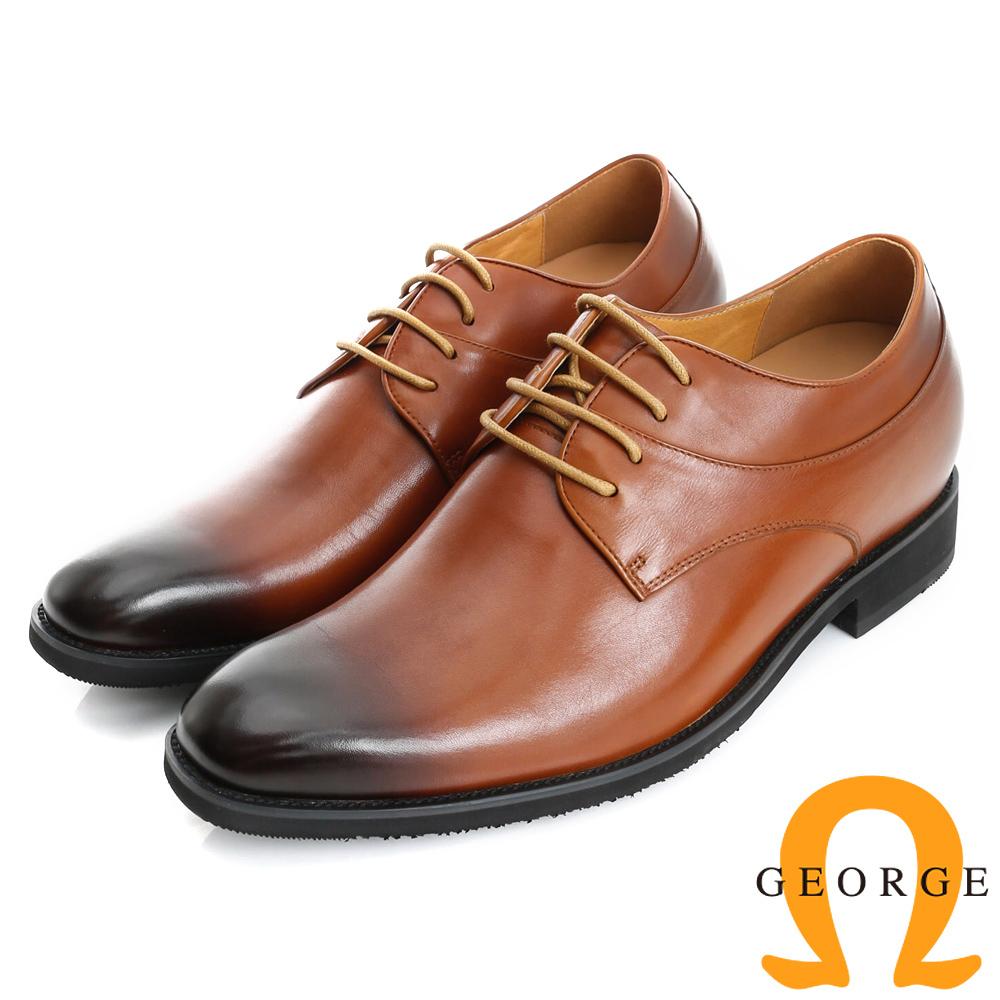 GEORGE 喬治-內增高系列 綁帶漸層紳士鞋皮鞋(男)-棕色