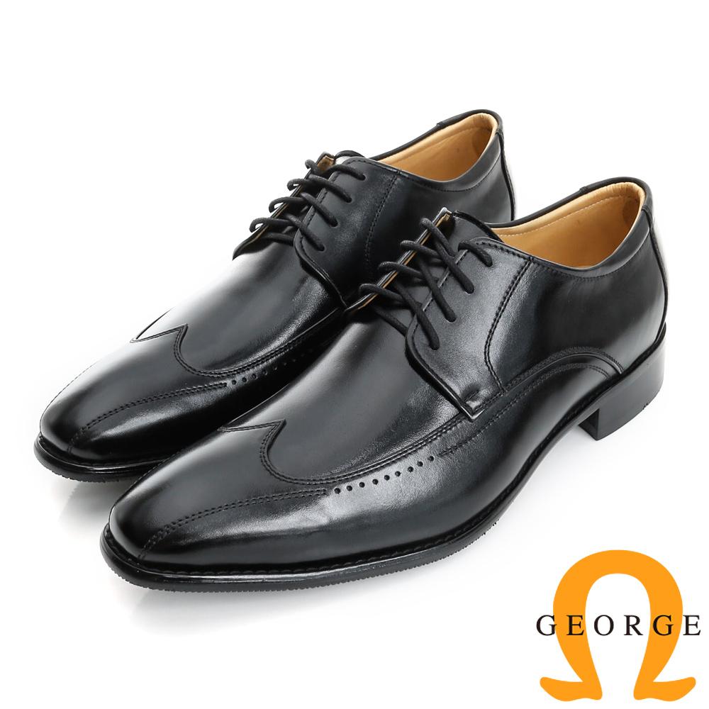 GEORGE 喬治-手工紳士鞋系列 真皮拼接綁帶紳士皮鞋(男)-黑色