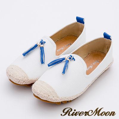 River&Moon樂福鞋-韓版撞色流蘇真皮麻編Q軟懶人便鞋-白系