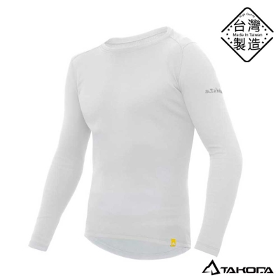 TAKODA男款刷毛內搭機能圓領T恤輕薄保暖衣(白色)