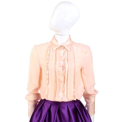 PHILOSOPHY 緞面抓褶拼接長袖襯衫(粉膚色)