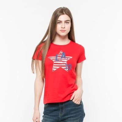 Hang Ten - 女裝 - 有機棉 趣遊美國星星印圖T-Shirt -紅