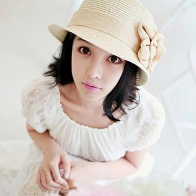 Aimee Toff 優雅小品花朵造型遮陽帽(米)