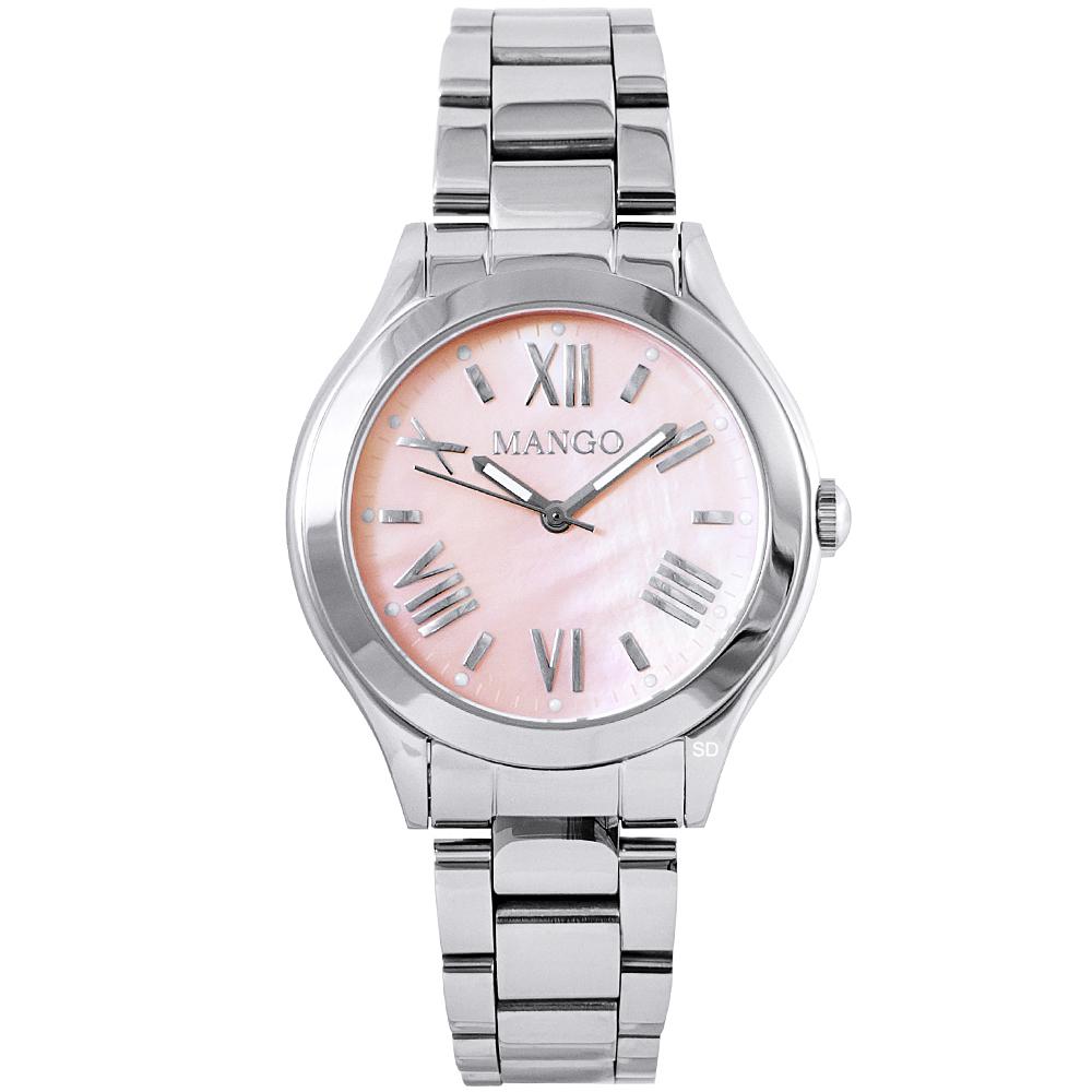 MANGO 羅馬時標時尚手錶-珍珠貝X銀/32mm