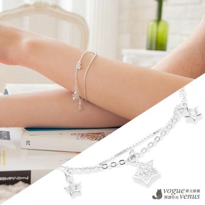 維克維娜 浪漫流星雨 幸運水鑽星星雙鍊純銀手鍊