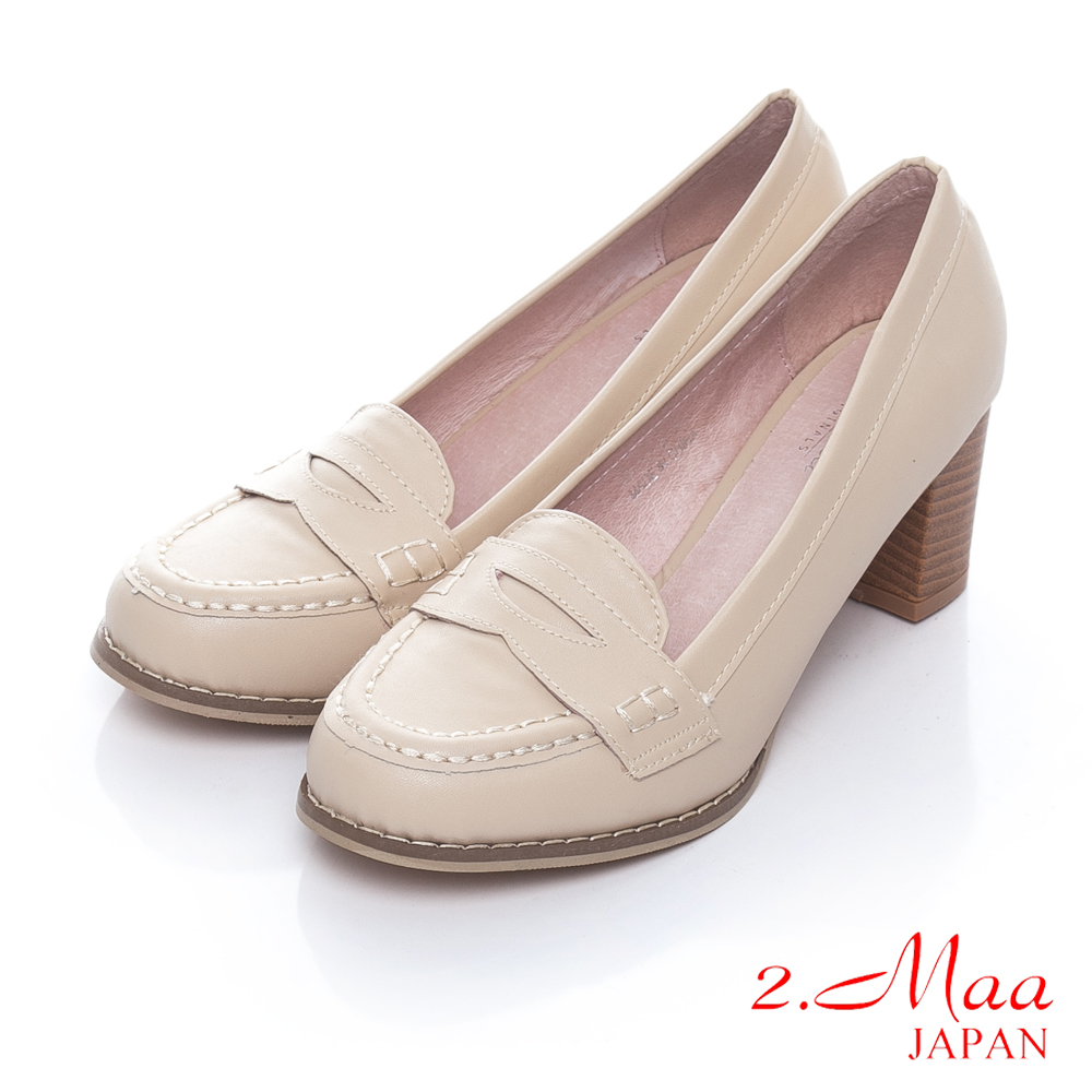 2.Maa 經典英倫時尚新風潮休閒樂福混搭造型跟鞋-米