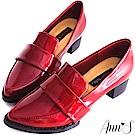 Ann'S時髦復古-韓系粗跟紳士休閒便鞋-漆皮紅