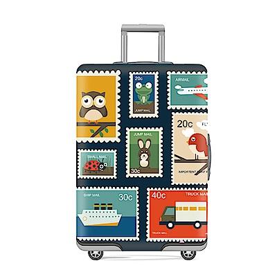 DF 生活趣館 - 行李箱保護套防塵套圖案款M尺寸適用22-25吋-郵票