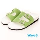 WAVE3女款釘電銀扣水手鞋~白綠