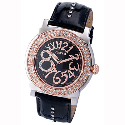 GOTO水漾超美水鑽時尚大數字腕錶-白殼玫框x黑/46mm