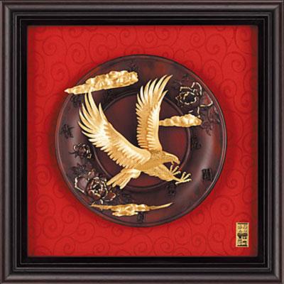 雅鑑鑫品金箔畫圓盤系列(小)老鷹 大展鴻圖-23x23cm