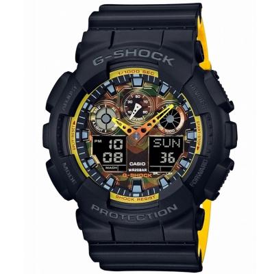 G-SHOCK 雙色配色融和迷彩設計休閒運動概念錶(GA-100BY-1A)51mm
