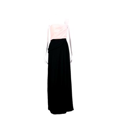 MARELLA 黑/粉色抓摺無袖長洋裝