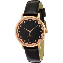 Kate Spade NEW YORK Metro風靡腕錶-黑x玫塊金框/35mm
