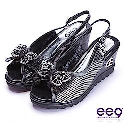 ee9 閃耀鑲嵌亮鑽蝴蝶結魚口楔型跟涼鞋  黑色