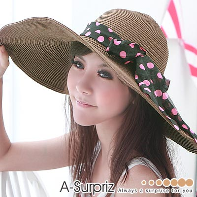 A-Surpriz-浪漫美人特大遮陽草帽-咖啡