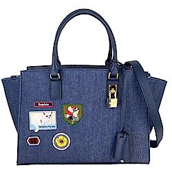 Samantha Thavasa牛仔布刺繡圖騰皮飾邊斜背/手提包