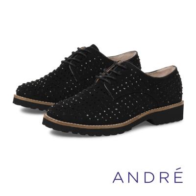 ANDRE-時髦鑽飾點綴德比平底鞋-個性黑