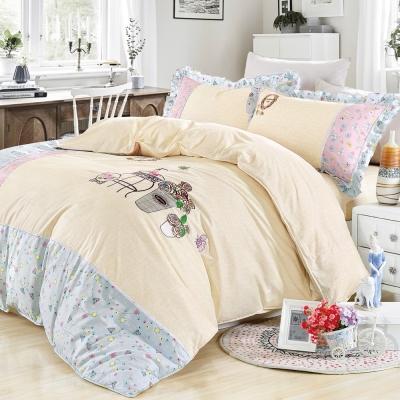 NATURALLY JOJO 可愛貼布繡精梳棉雙人加大兩用被床包四件組-清香花澗