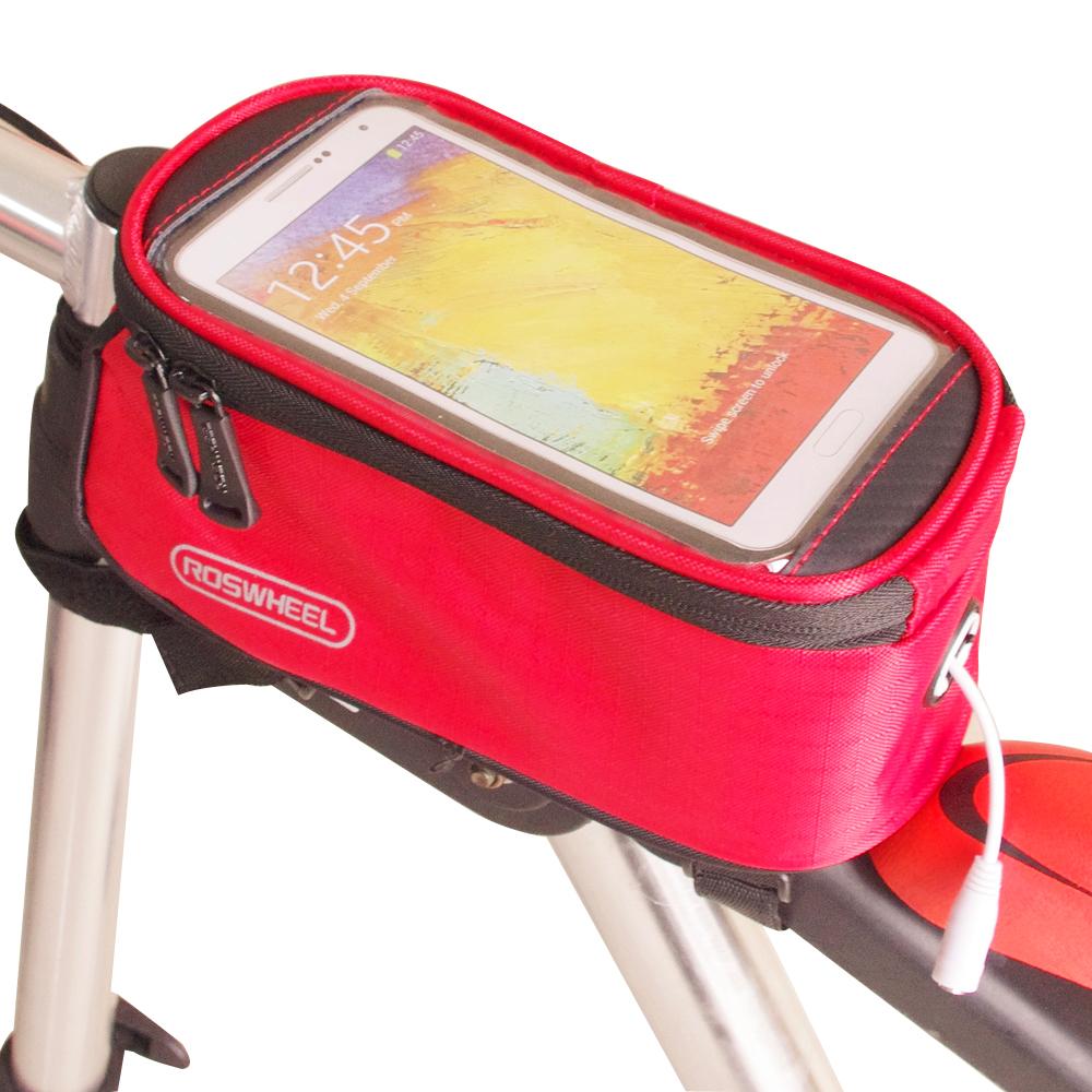 色彩繽紛 自行車觸屏手機置物包(附耳機延長線)-紅色