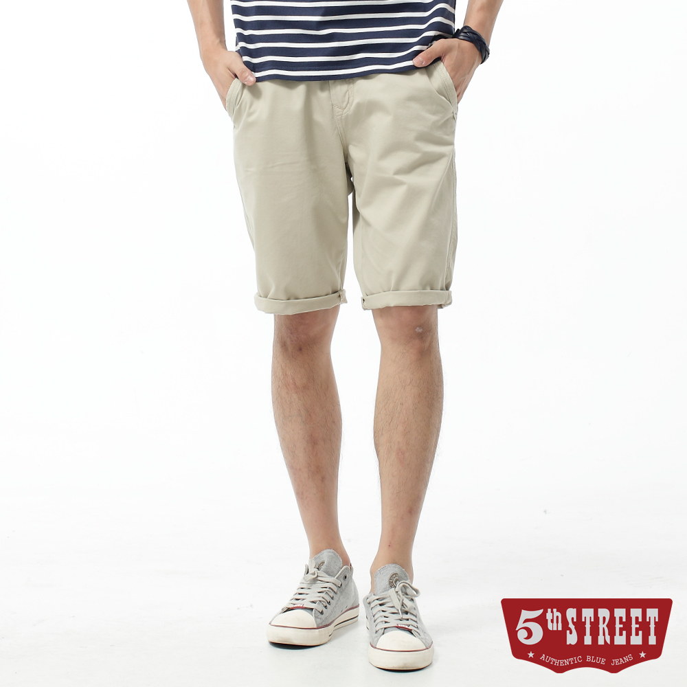 5th STREET 短褲 街霸基本休閒色褲-男-淺卡其