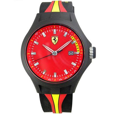 Scuderia Ferrari 法拉利 奔馳快感碳纖維紋運動錶-紅/44mm