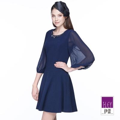 ILEY伊蕾-藍調優雅異素材拼接洋裝-藍