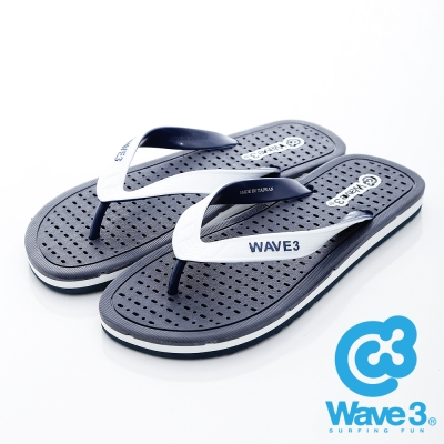 WAVE3【男】獨家設計排水透氣人字夾腳拖鞋~藍白