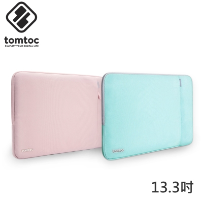 Tomtoc 360° 13.3吋 筆電防震內袋 粉&綠