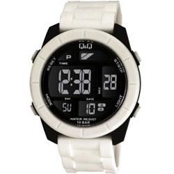 Q&Q 彩色潮流大鏡面多功能電子錶-黑/47mm