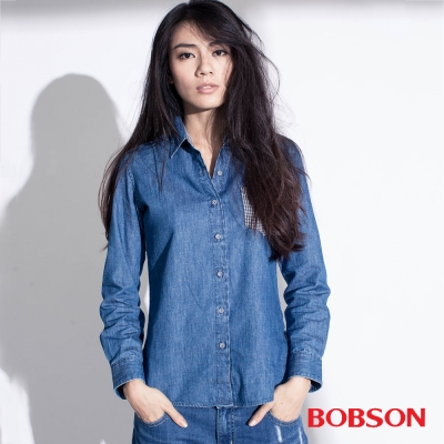 BOBSON  女款異素材襯衫