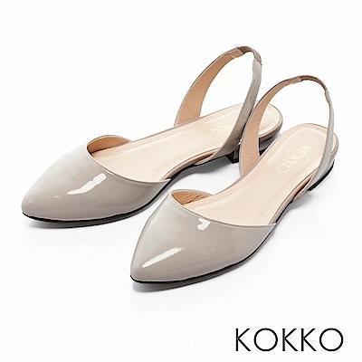 KOKKO - 復古女伶尖頭後拉帶平底鞋-中性灰