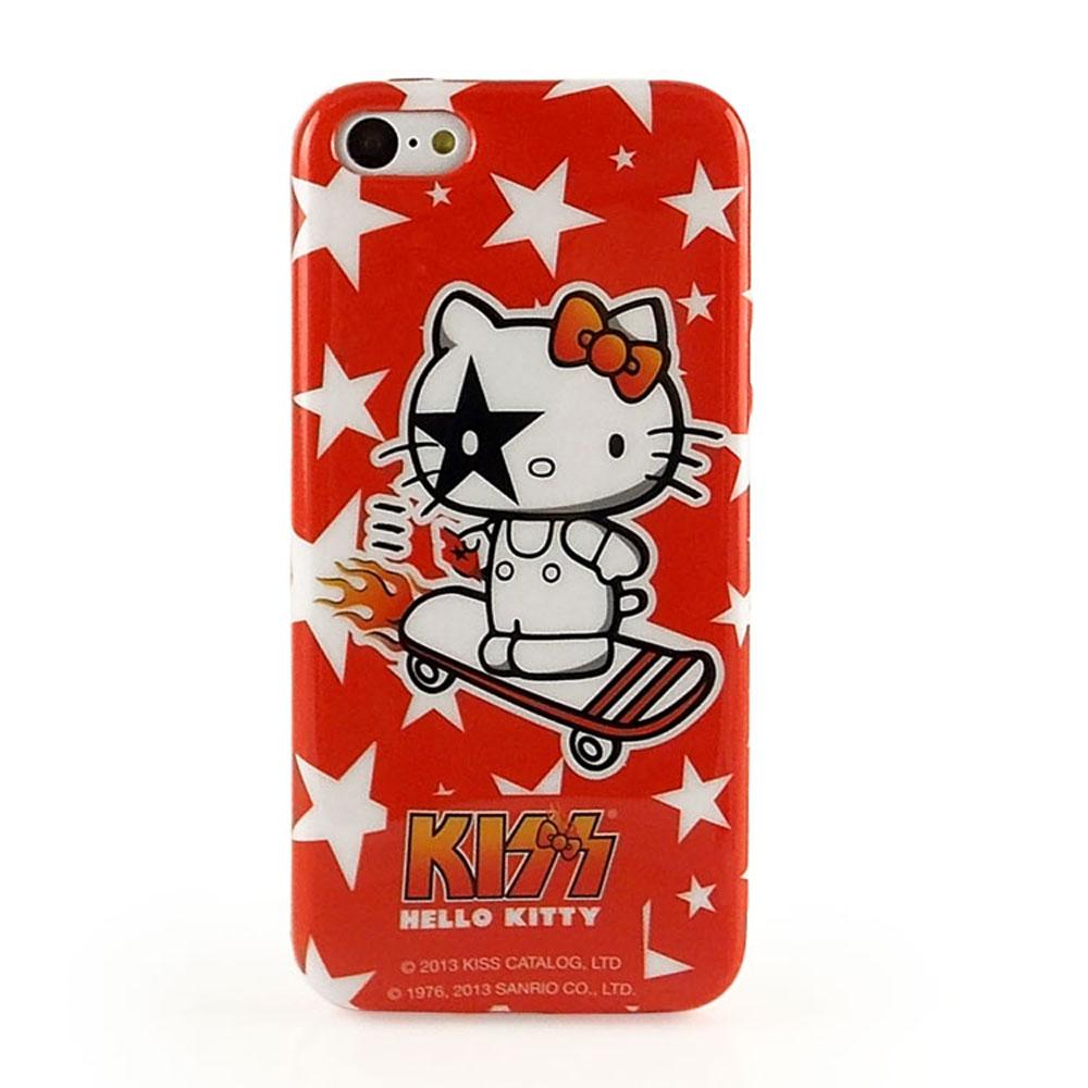 KISS HELLO KITTY iPhone 5/5s/5c 繽紛彩繪保護套-星星滑板